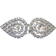Dazzling Two Piece Rhinestone Buckle, Rhodium Plated