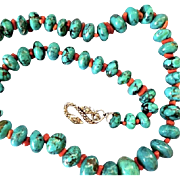 "Graduated Turquoise Coral Bead Necklace, Sterling Snake Clasp, 22-1/2"" Long"