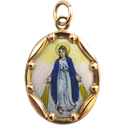 Our Lady of Miracles Mary Enamel 14k Religious Medal