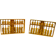 Vintage 14K Yellow Gold Abacus Moveable Cuff Links, 9.9 Grams!