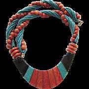 Stunning Vintage 1970's Inlaid Laminate Necklace