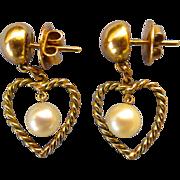 Delightful 14k Dangling Open Heart Cultured Pearl Pierced Earrings