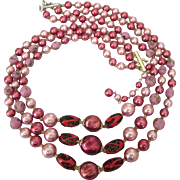 50% Off - Gorgeous Pink and Red Triple Strand Necklace, Czech Glass Beads and Faux Pearls