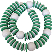 """50% Off - Whimsical, Chunky Green and White Plastic 22"""" Necklace - Unusual Beads!"""