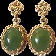 Vintage Etruscan Design 14K Gold Chrysophase Dangling Pierced Earrings