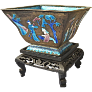 Vintage Chinese Cloisonne Figural Square Brass and Enamel Bowl on Carved Wood Stand