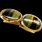 Elegant Estate 9ct Yellow Gold African Tiger Eye Cufflinks - Hallmark