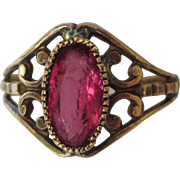 Vintage Ornate 10K Gold Simulated Ruby Ring, Size 8-1/2