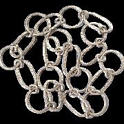 """Long Karen Hills 99.5 Silver Hammered Extra Large Open Link 35"""" Necklace"""