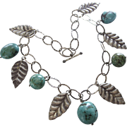 Vintage Chunky Sterling Leaf and Turquoise Bead Necklace, 108.4 Grams