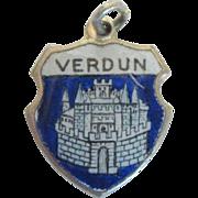 Vintage Verdun Travel Charm, Enamel and 800 Silver