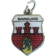 Vintage Harburg Enamel and 800 Silver Travel Charm