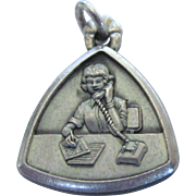 Vintage Sterling Charm of Stenographer Secretary With Telephone, Bell Telephone Co.