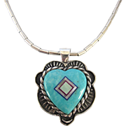 Signed Carolyn Pollack Relios Sterling Gemstone Reversible Heart Puffy Pendant Necklace