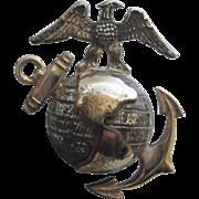 Vintage Sterling and GF USMC Emblem Marine Corps Pin, Screw Back