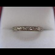 Art Deco 18K Ostby & Barton White Gold Wedding Band, Size 6-3/4