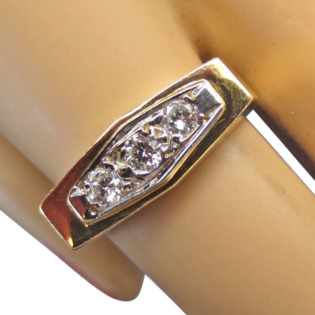 Elegant vintage retro 14k yellow gold diamond ring from for Used jewelry san diego
