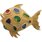 50% OFF - Signed Florenza Enamel Fish Goldtone Brooch