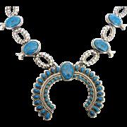 Vintage Squash Blossom Costume Faux Turquoise Necklace