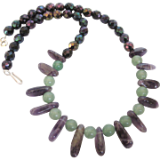 "Vintage Amethyst and Aventurine Gemstone Bead 18"" Necklace"