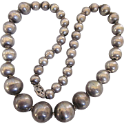 """Vintage Sterling Silver Graduated Silver Bead 15"""" Necklace"""
