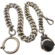 Massive Antique English Sterling Watch Chain With Bloodstone Carnelian Fob - Hallmarked - 105 Grams!