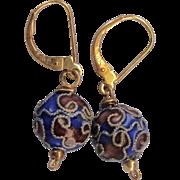 Vintage 18K Gold Lever Back Cloisonne Drop Pierced Earrings
