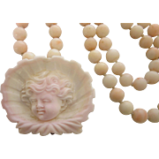 Exquisite Victorian Angel Skin Coral Carved Cherub and Bead Necklace