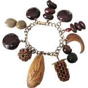 50% OFF - Vintage Charm Bracelet - Nut Charms!