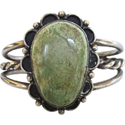 Vintage Native American 3 Band Mossy Green Turquoise Sterling Cuff Bracelet, Small Size