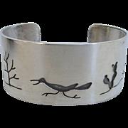 Sleek Vintage Southwestern Sterling Silver Pictorial Cuff Bracelet, 53.6 Grams!