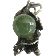 Vintage Sterling Freemform Brutalist Charm or Pendant With Crysophase Gemstone Bead