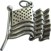Exceptional Sterling Waving U.S. Flag Pendant or Charm, Made In U.S.A.