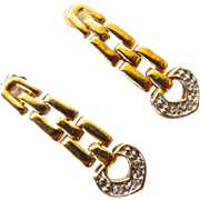 Retro 14K Gold Diamond Dangle Pierced Earrings, Hinged Square Link Drops