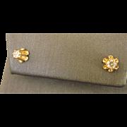 Vintage 14K Gold .16 CTW Diamond Studs Pierced Earrings