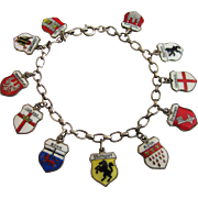 ON SALE!  Vintage European Enamel Travel Shield Charm Bracelet, Original 835 Bracelet, 11 800 & 835 Charms