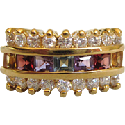 Dazzling Vermeil Gold Over Sterling Multi-Gemstone Band Ring, Size 7