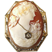 Exquisite 14K Gold Habille Carved Cameo With Diamond Pin and Pendant