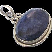 Vintage Sterling and Sodalite Gemstone Pendant
