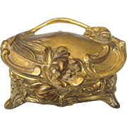Art Nouveau Gilt Jewelry Casket With Original Lining