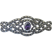 Vintage Victorian Revival Sterling, Amethyst and Marcasite Brooch