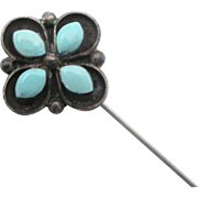 Vintage Sterling Silver and Turquoise Glass Stick Pin or Hat Pin