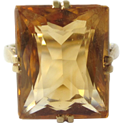 Stunning Mid-Century 585 14K Gold 10 Carat Citrine Cocktail Ring, Size 6-3/4