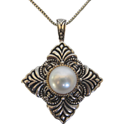 Elegant Sterling Silver and 14K Gold Pearl Pendant Necklace