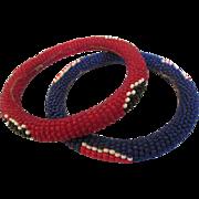 Vintage Pair of Native American Seed Bead Bangle Bracelets