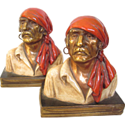 Vintage Bronze and Enamel Pirate Bookends