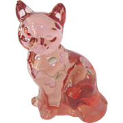 Vintage Fenton Hand Painted Signed Pink Cat Figure