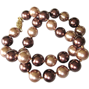 """Elegant Champagne and Coppery Faux Glass Pearl Hand Knotted 18"""" Necklace"""