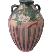 Early Roseville Pink and Green Cherry Blossom Double Handled Vase, Mint