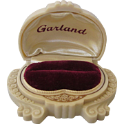Ornate Art Nouveau Art Deco Creme and Gilt Celluloid Double Ring Box, Garland Advertising